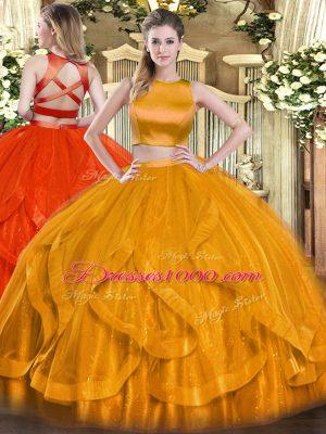Fancy Floor Length Orange Red Sweet 16 Quinceanera Dress Tulle Sleeveless Ruffles