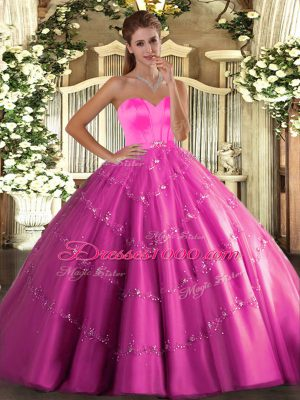 Fancy Beading and Appliques Sweet 16 Dress Hot Pink Lace Up Sleeveless Floor Length