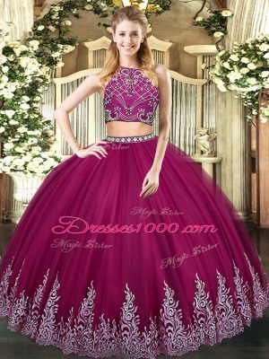 Fuchsia Zipper High-neck Beading and Appliques 15th Birthday Dress Tulle Sleeveless
