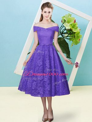 Hot Selling Lace Off The Shoulder Cap Sleeves Lace Up Bowknot Dama Dress in Lavender