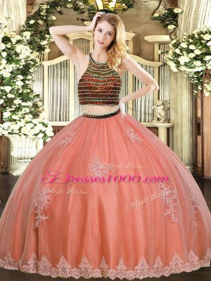 Customized Coral Red Sleeveless Tulle Zipper Quinceanera Gowns for Military Ball and Sweet 16 and Quinceanera