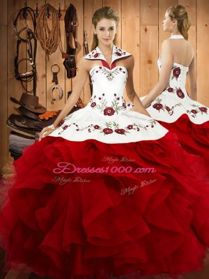 Artistic Wine Red Sleeveless Tulle Lace Up Quinceanera Gowns for Military Ball and Sweet 16 and Quinceanera