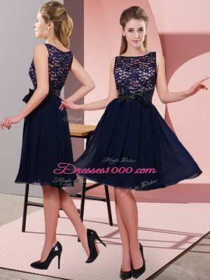 Deluxe Black Side Zipper Scoop Lace and Bowknot Casual Dresses Chiffon Sleeveless