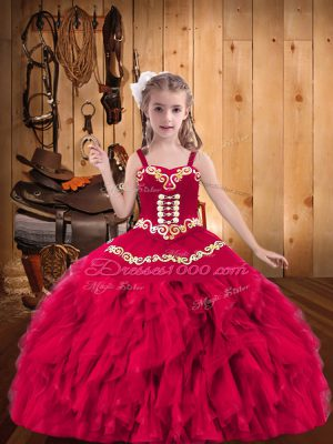 Floor Length Lace Up Pageant Dress Toddler Coral Red for Party and Sweet 16 and Quinceanera and Wedding Party with Embroidery and Ruffles