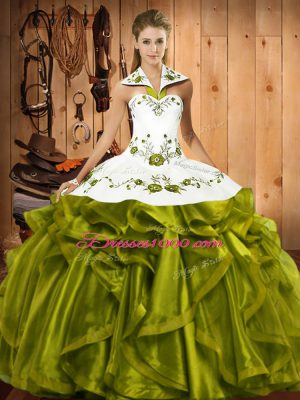 Romantic Halter Top Sleeveless Satin and Organza Sweet 16 Quinceanera Dress Embroidery and Ruffles Lace Up