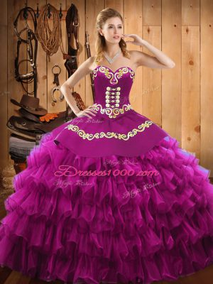 Spectacular Fuchsia Sleeveless Embroidery and Ruffled Layers Floor Length Quinceanera Dress