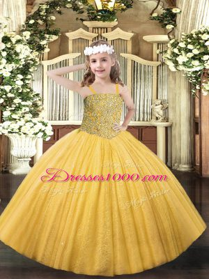High Class Gold Straps Neckline Beading Pageant Gowns For Girls Sleeveless Lace Up