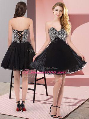 Pretty Chiffon Sleeveless Mini Length Evening Dress and Beading