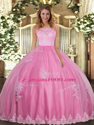 Clearance Rose Pink Sleeveless Lace and Appliques Floor Length Ball Gown Prom Dress