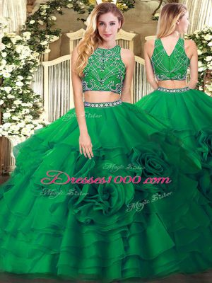 Glorious Dark Green Two Pieces Beading and Ruffled Layers Sweet 16 Dress Zipper Tulle Sleeveless Floor Length