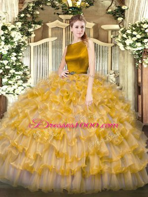 Deluxe Organza Sleeveless Floor Length 15 Quinceanera Dress and Ruffled Layers