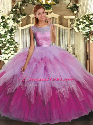 Scoop Sleeveless Quince Ball Gowns Floor Length Beading and Ruffles Multi-color Organza