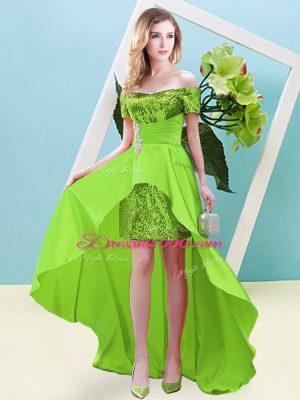 Lace Up Prom Dresses Beading Short Sleeves High Low