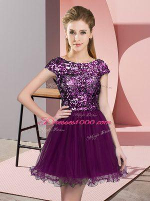 Flirting Tulle Scoop Cap Sleeves Zipper Sequins Quinceanera Dama Dress in Purple