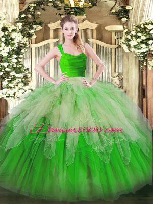 Fabulous Floor Length Multi-color 15 Quinceanera Dress Organza Sleeveless Ruffles