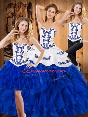 Satin and Organza Strapless Sleeveless Lace Up Embroidery and Ruffles Quinceanera Gown in Blue And White