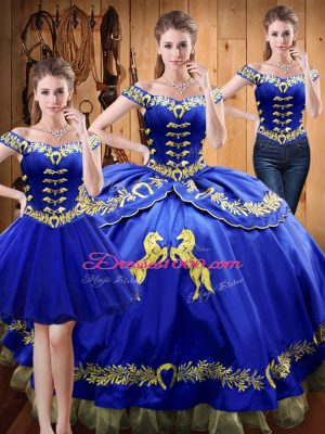 Floor Length Royal Blue Quinceanera Dress Off The Shoulder Sleeveless Lace Up