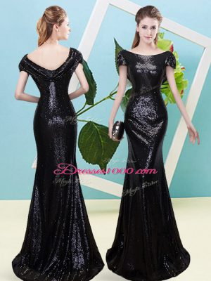 Attractive Black Mermaid Sequined Scoop Cap Sleeves Sequins Floor Length Zipper Prom Evening Gown