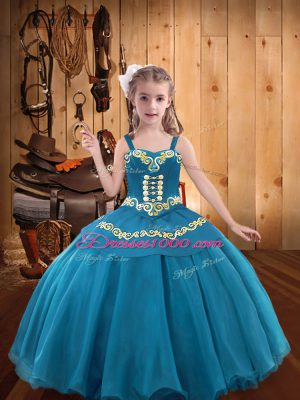 Simple Floor Length Teal Little Girls Pageant Dress Wholesale Organza Sleeveless Embroidery and Ruffles