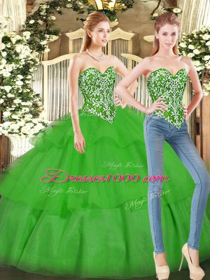 Beautiful Green Ball Gowns Sweetheart Sleeveless Tulle Floor Length Lace Up Beading and Ruffled Layers Quinceanera Gown