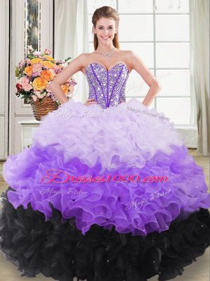 Captivating Sleeveless Beading and Ruffles Lace Up Quinceanera Dresses with Multi-color