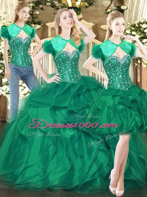 Elegant Dark Green Ball Gowns Tulle Sweetheart Sleeveless Beading and Ruffles Floor Length Lace Up Vestidos de Quinceanera