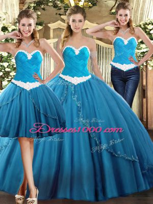 Teal Sleeveless Tulle Lace Up Quinceanera Dresses for Military Ball and Sweet 16 and Quinceanera