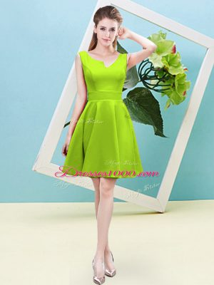 Super Satin Asymmetric Sleeveless Zipper Ruching Wedding Guest Dresses in Yellow Green