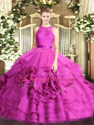 Comfortable Fuchsia Fabric With Rolling Flowers Zipper Scoop Sleeveless Floor Length 15 Quinceanera Dress Lace