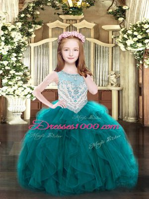 Teal Sleeveless Floor Length Beading and Ruffles Zipper Pageant Dress for Womens