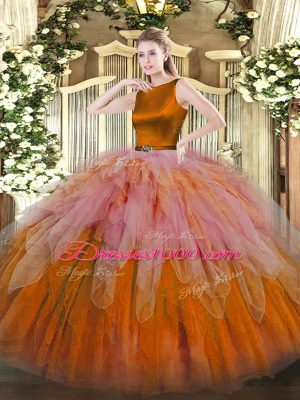 Colorful Sleeveless Organza Floor Length Clasp Handle Ball Gown Prom Dress in Multi-color with Ruffles