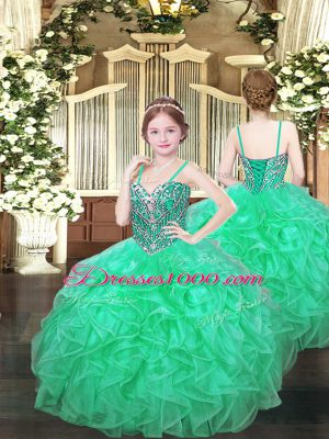 Ball Gowns Pageant Dress Womens Turquoise Spaghetti Straps Organza Sleeveless Floor Length Lace Up