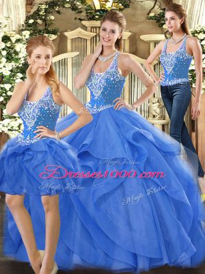 Custom Design Floor Length Blue Quinceanera Dress Straps Sleeveless Lace Up