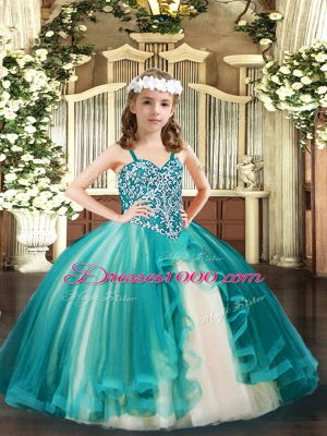 Teal Ball Gowns Tulle Straps Sleeveless Beading Floor Length Lace Up Child Pageant Dress