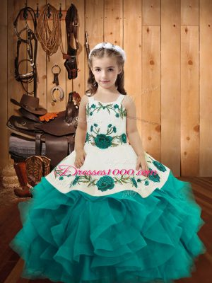 Tulle Straps Sleeveless Lace Up Embroidery and Ruffles Little Girls Pageant Gowns in Teal