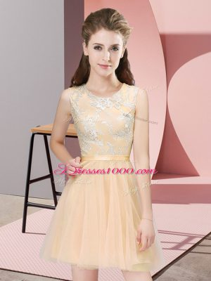 Sleeveless Tulle Mini Length Side Zipper Bridesmaid Dress in Champagne with Lace