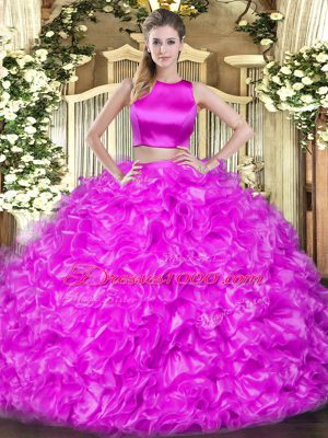 Top Selling High-neck Sleeveless Criss Cross Sweet 16 Quinceanera Dress Hot Pink Tulle