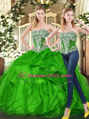 New Arrival Sweetheart Sleeveless Sweet 16 Dress Floor Length Beading and Ruffles Green Organza