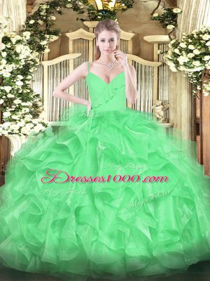 Green Zipper Spaghetti Straps Ruffles Sweet 16 Dress Organza Sleeveless