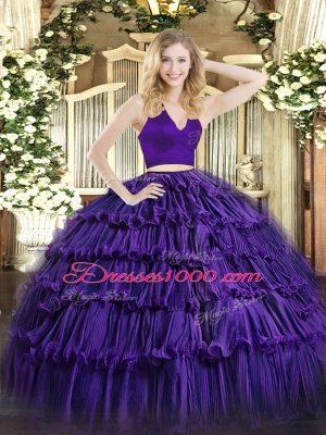 Luxurious Purple Two Pieces Halter Top Sleeveless Organza Floor Length Zipper Ruffled Layers Sweet 16 Quinceanera Dress