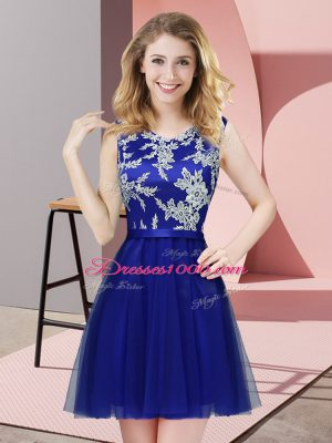 Royal Blue A-line Scoop Sleeveless Tulle Mini Length Side Zipper Lace Vestidos de Damas