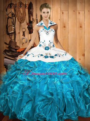Glorious Baby Blue Sleeveless Satin and Organza Lace Up Quinceanera Gown for Military Ball and Sweet 16 and Quinceanera