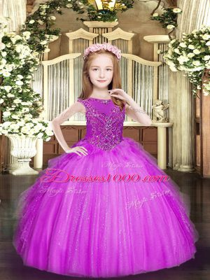 Stunning Fuchsia Ball Gowns Beading and Ruffles Girls Pageant Dresses Zipper Tulle Sleeveless Floor Length