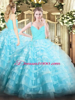 Organza Sleeveless Floor Length Ball Gown Prom Dress and Ruffled Layers