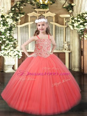 Nice Floor Length Ball Gowns Sleeveless Coral Red Pageant Dress Toddler Lace Up