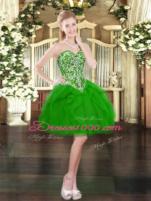 Smart Green Sleeveless Tulle Lace Up Party Dress for Toddlers for Prom and Party