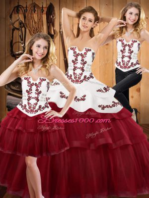 Chic Burgundy Strapless Neckline Embroidery and Ruffled Layers Vestidos de Quinceanera Sleeveless Lace Up