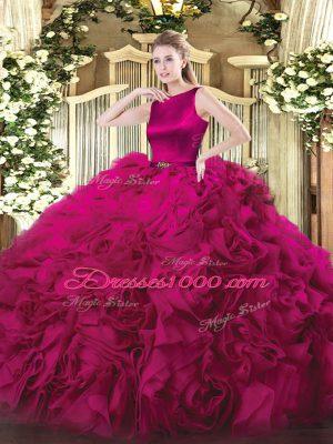 Artistic Fuchsia Scoop Clasp Handle Belt Ball Gown Prom Dress Sleeveless