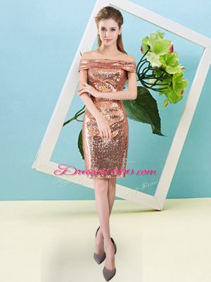 Orange Red Short Sleeves Sequins Mini Length Dress for Prom