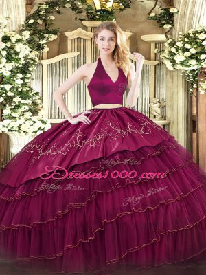 Burgundy Organza and Taffeta Zipper 15th Birthday Dress Sleeveless Floor Length Embroidery and Ruffled Layers